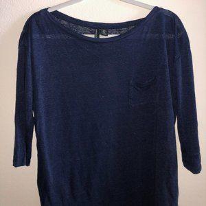 Cynthia Rowley Navy Blue Long Sleeve Top.